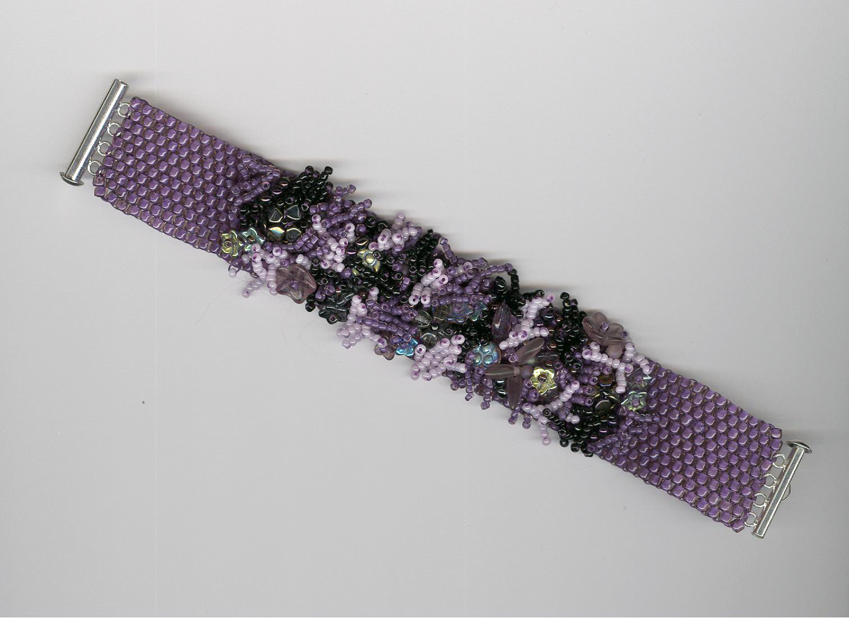 Beaded Cuff Bracelet in Purples