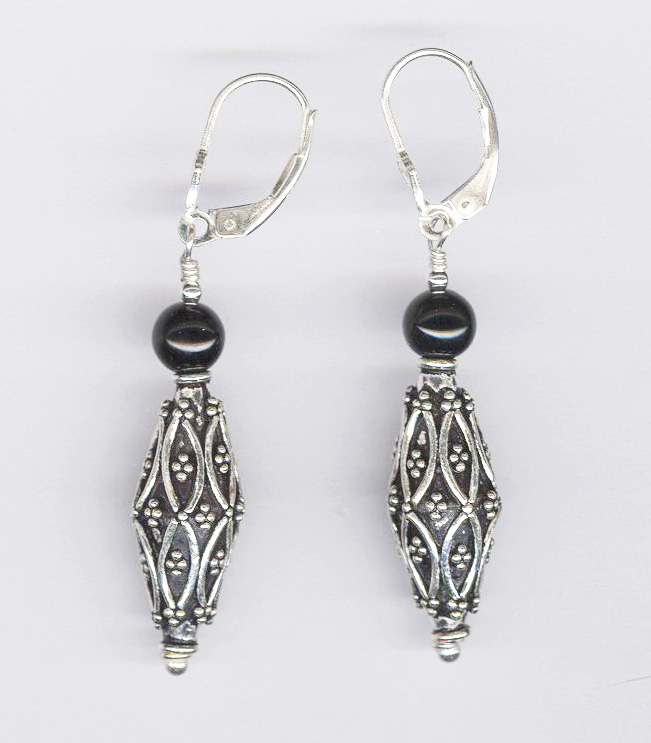 Bali Silver and Black Onyx Earrings