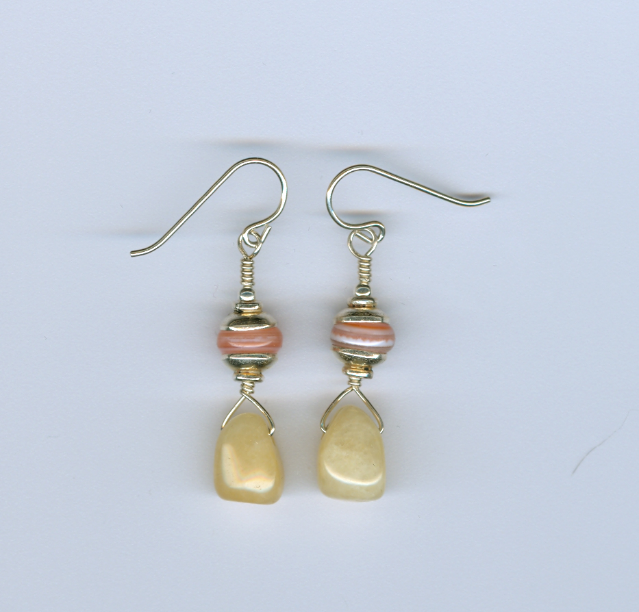 Sardonyx and Pineapple Jade Earrings