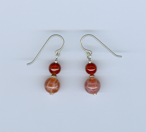 Fire Agate and Carnelian Earrings
