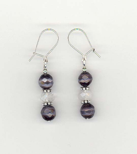 Purple Fibre Optic & White Cloud Quartz Earrings