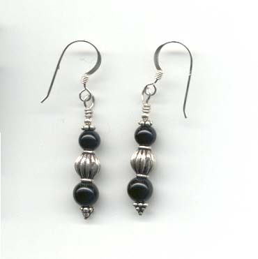 Black Onyx & Silver Earrings