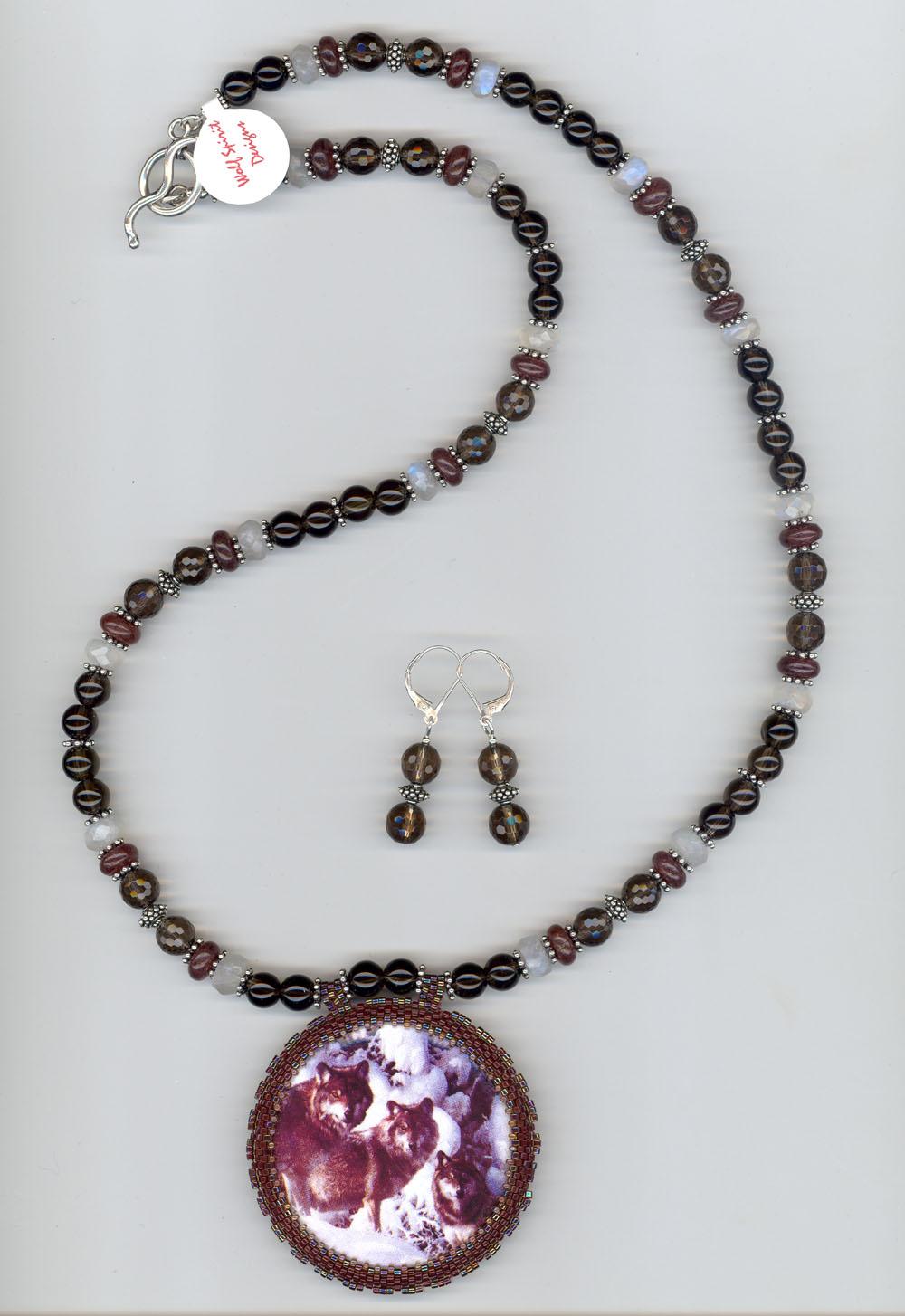 Wolf Cabochon Necklace Set
