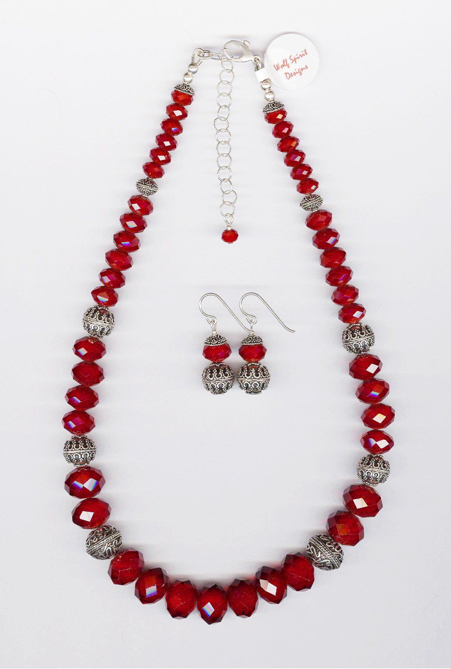 """Red """"Velvet"""" Crystal Necklace"""